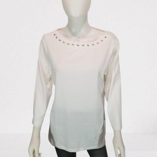 Karen Scott White Lace-Up Long Sleeve L