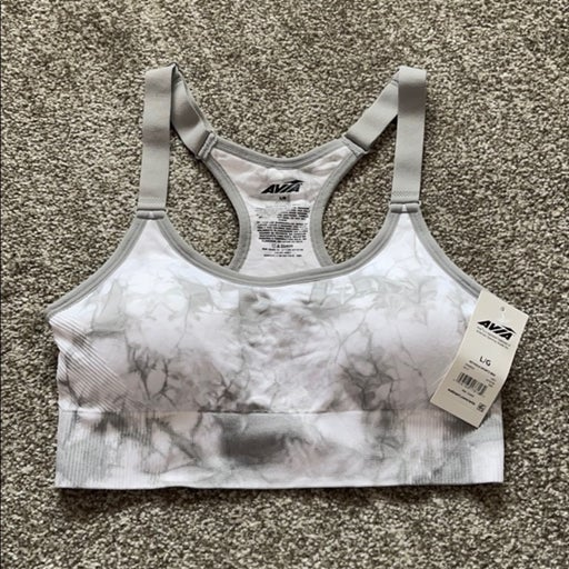 NWT lightly padded gray marbled sports bra size L