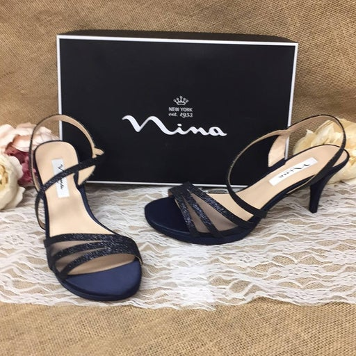 Nina Open Toe Blue Special Occasion Slingback Sandals 8