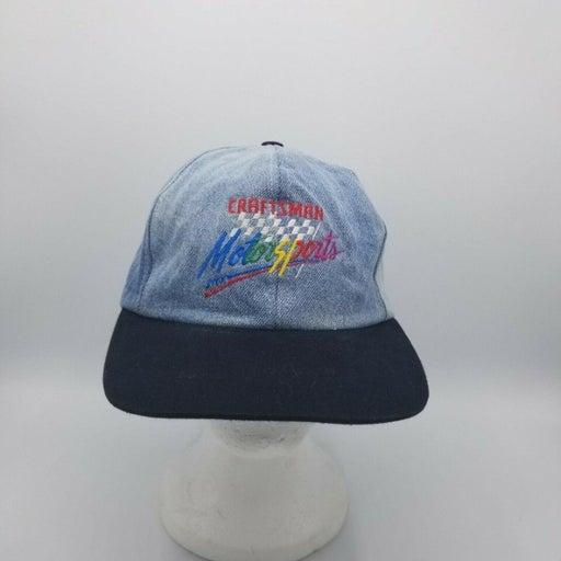 Vintage Craftsman Motorsports Snapback Hat Cap MADE IN THE USA Denim