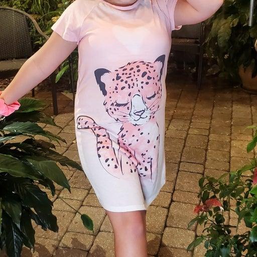 Cuddl Duds Sleepy Cheetah Nightgown Girls XL 14-16