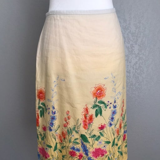 Crazy horse spring yellow floral skirt