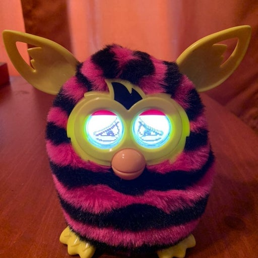 2012 PINK AND BLACK STRIPED FURBY BOOM
