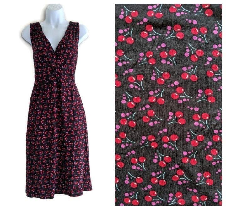 Garnet Hill Cherry Starlet Knit Dress L