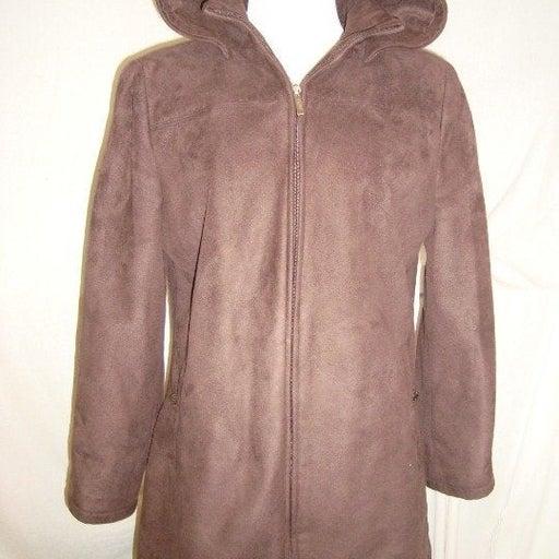 Brown Hooded Coat Jacket Womens Medium