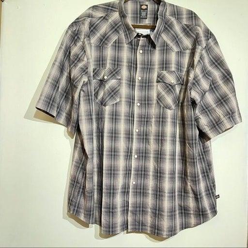 Dickies Men's Short Sleeve Peral Snap Flex Western Shirt NWT Size Men's 3XL