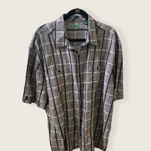 Cubavera Black/Gray Plaid Linen Shirt