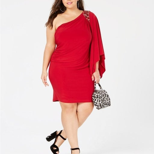 Morgan & Co Plus Size One Shoulder Dress