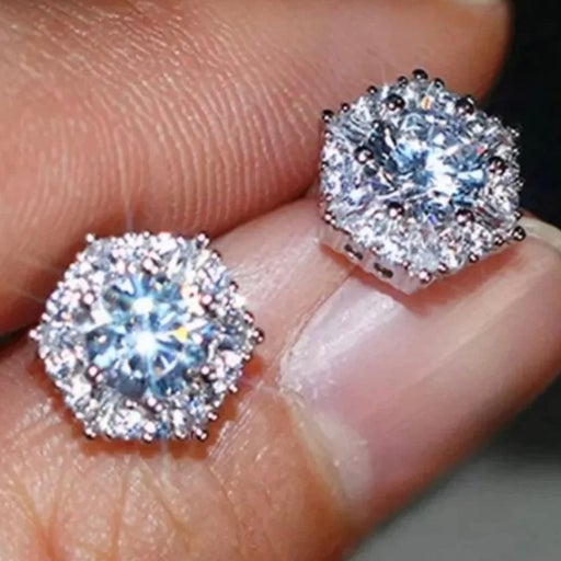 Silver Diamond Hexagon Stud Earrings