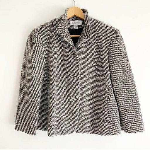 Calvin Klein Black White Tweed Bar Button Mid Sleeve Cropped Coat