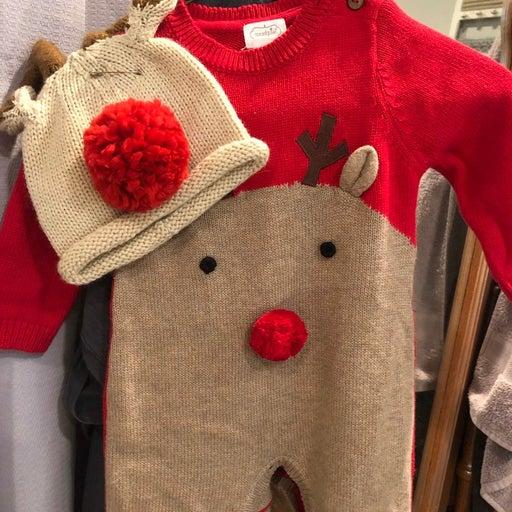 Mudpie Rudolph Knit sweater Romper