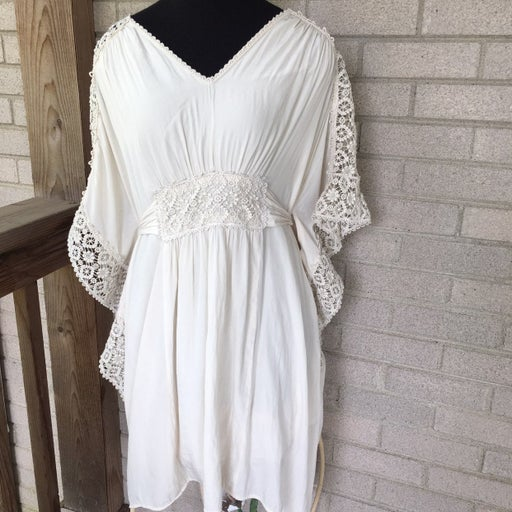 Calypso St. Barth Ivory Bohemian Hippie Winged Sleeve Sash Waist Tied Dress