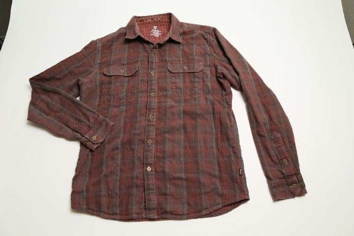 Kuhl Long Sleeve Button Up Maroon Check