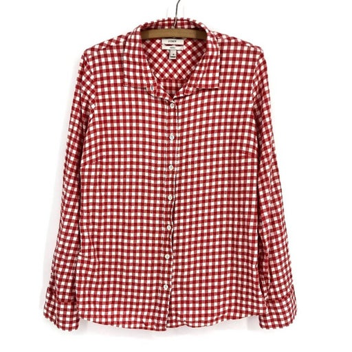 J. Crew The Perfect Shirt Gingham Button Down Sz 12