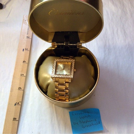 Curations Gold Tone Crystal Watch