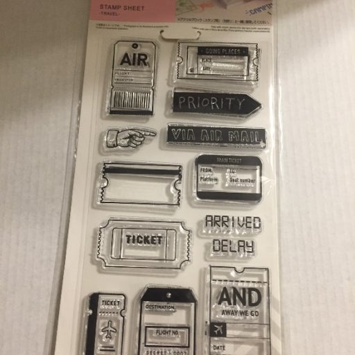 NEW 13 pc Travel Themed Clear Stamps Set