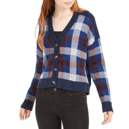 1.State Plaid Eyelash Sweater Blue Large