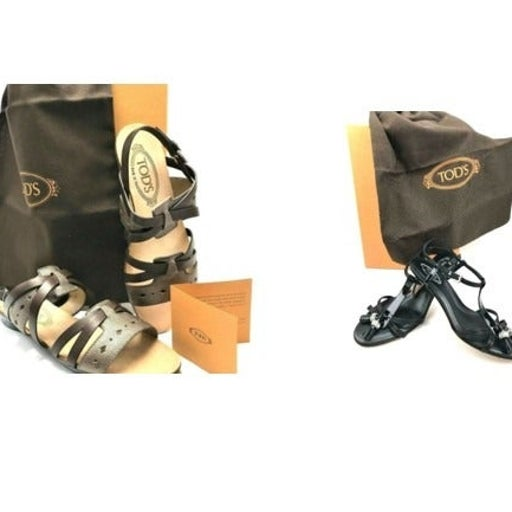 2 Pair New Tod's Leather Sandals -6.5M