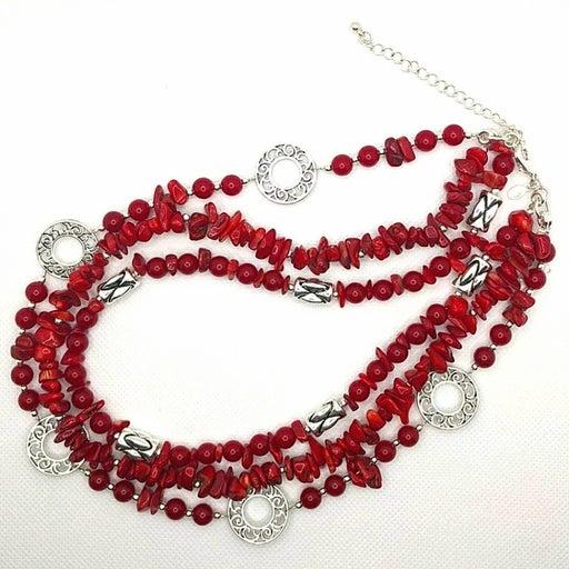 Premier Designs Red Coral & Silver Ne…