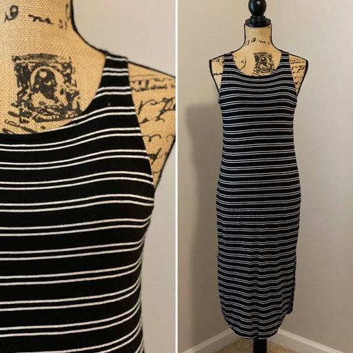 Michael Stars Black Stripe Midi Dress
