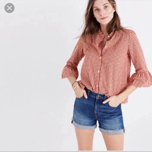 Madewell red gingham top