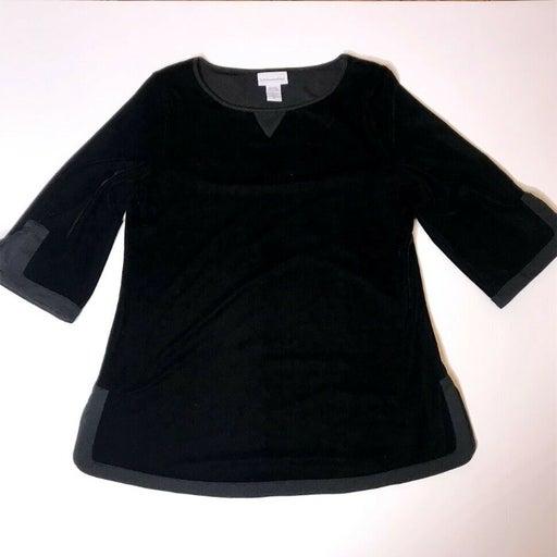 Soft Surroundings Black Velvet Top Blouse Shirt Size PXS Petite XS Soft