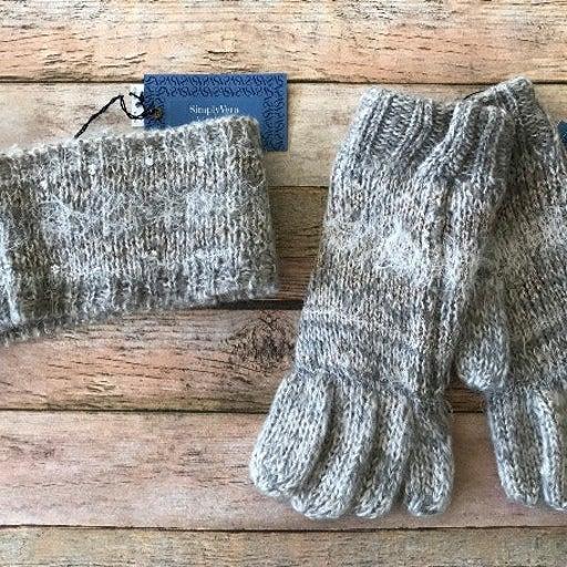 Fairisle Rhinestone Headwrap & Gloves