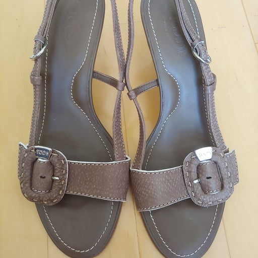 Tod's Etoupe Leather Sandals