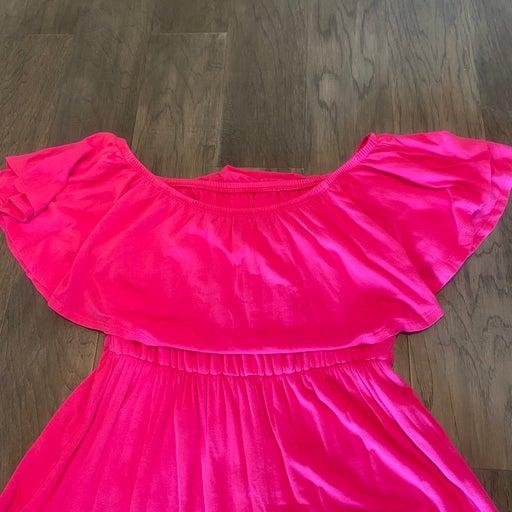 Hot Pink off the shoulder Maxi dress