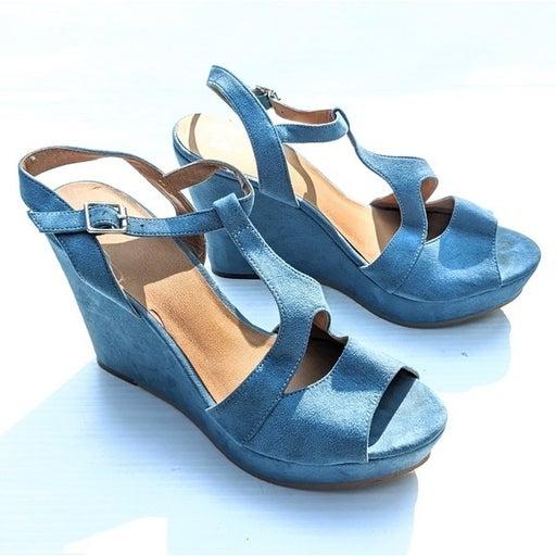 BP blue suede leather platform wedge sandals