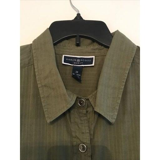 Karen Scott Women Green 3/4 Sleeve 100% Cotton Button Shirt Size: 3X
