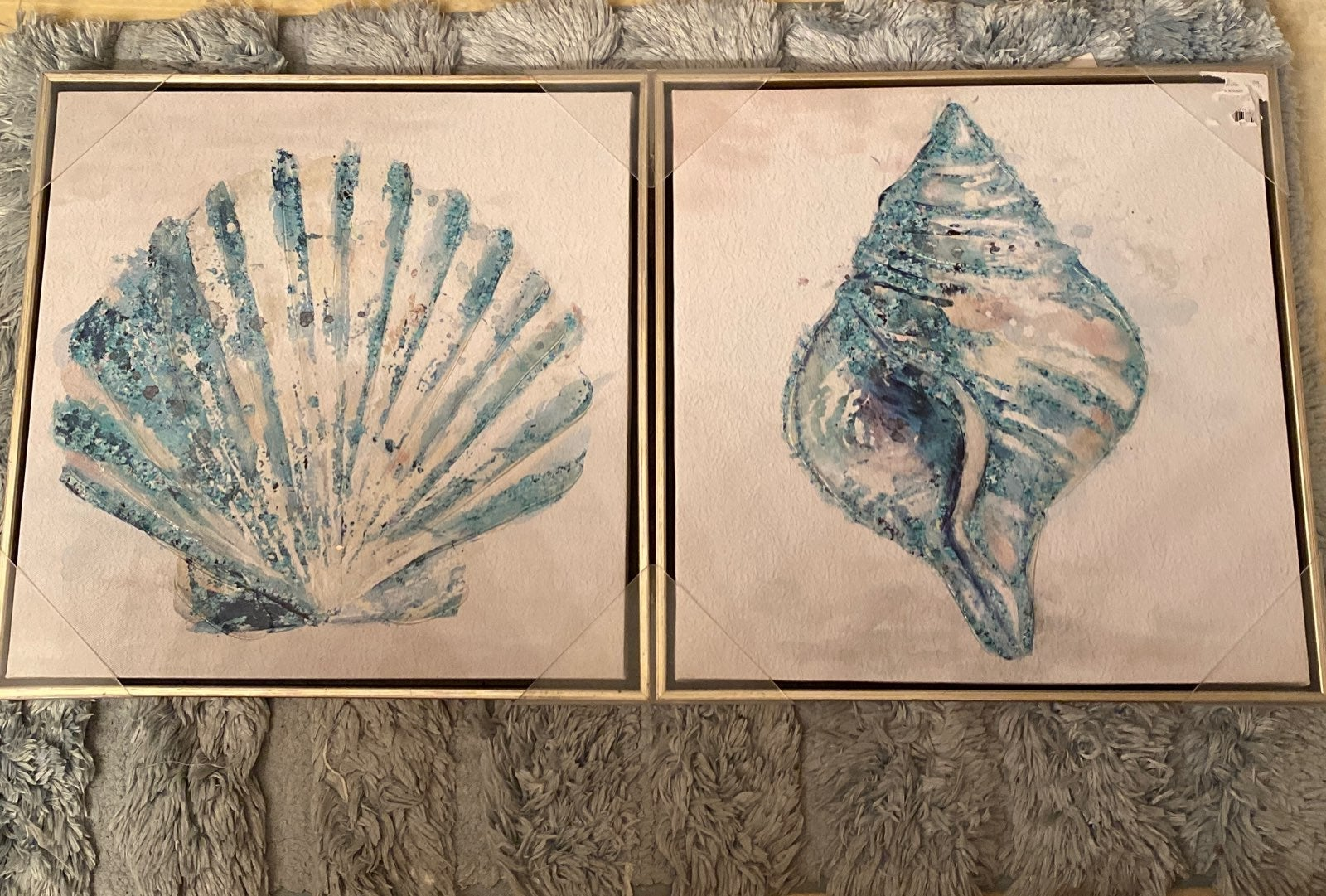 Canvas sea shell paintings set includes