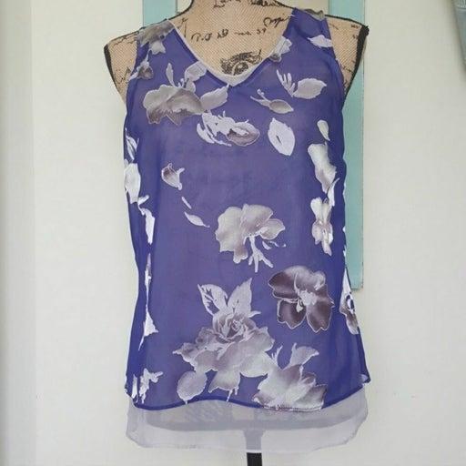 Vera Wang Purple & Silver Floral Top