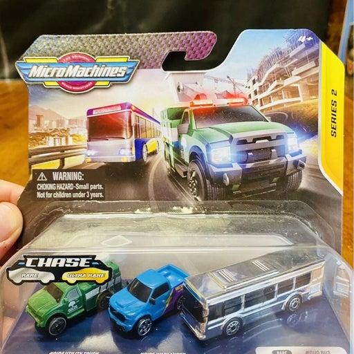 CHASE SILVER CHROME Bus Metro City Micro Machines Series 2 Vehicles