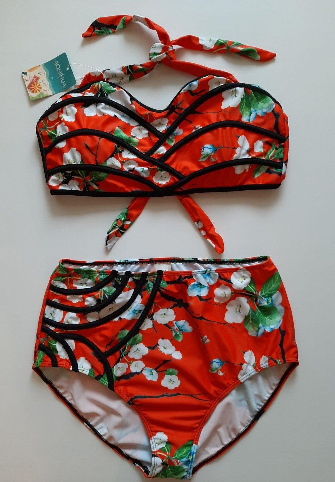 Sexy Floral High Waist Bikini Swimsuit