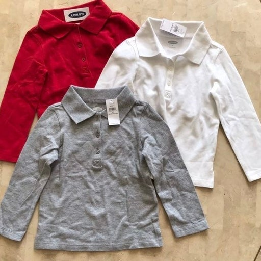Toddler 2T Long Sleeve Polo Shirts Old Navy Red White Gray New with Tags Bundle