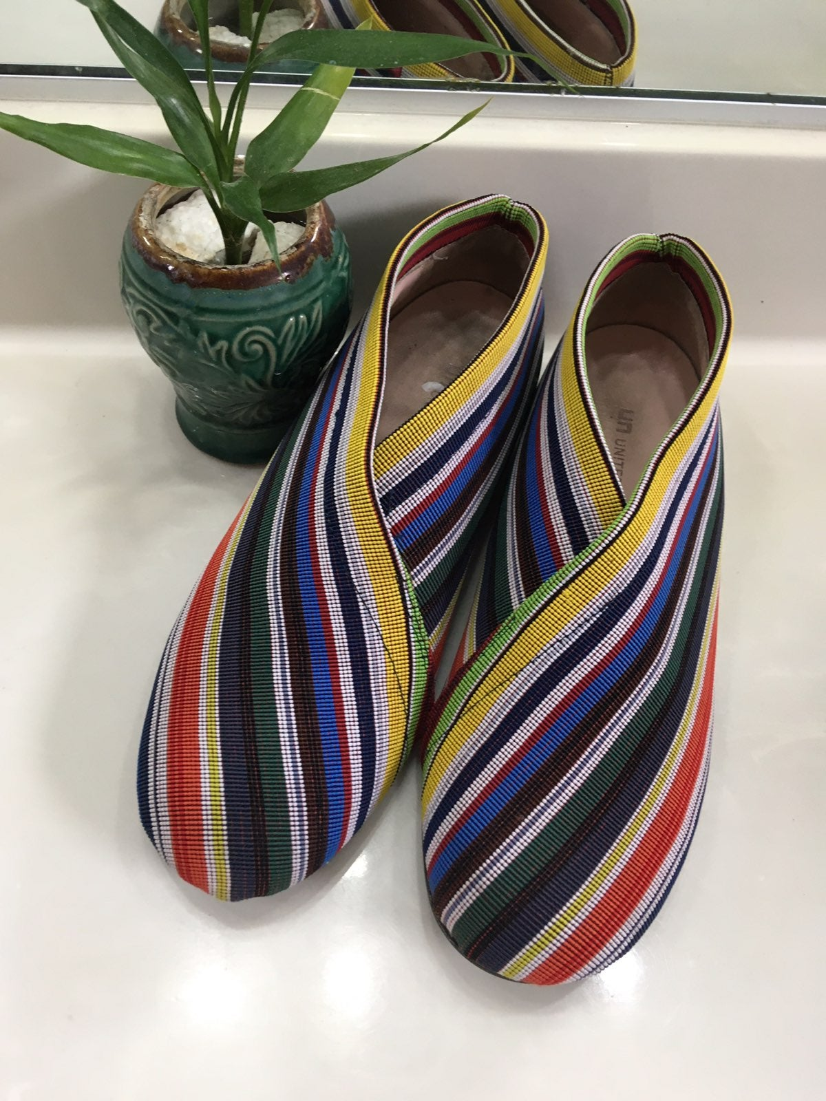 MultiColor Stripe Fold Low Slip-On Flats