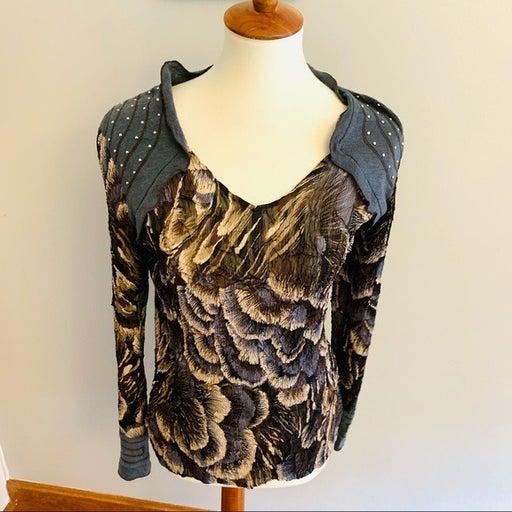 Alberto Makali brown/gray floral poly blouse L