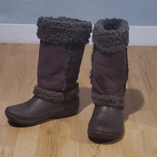 Brown Crocs Nadia boots