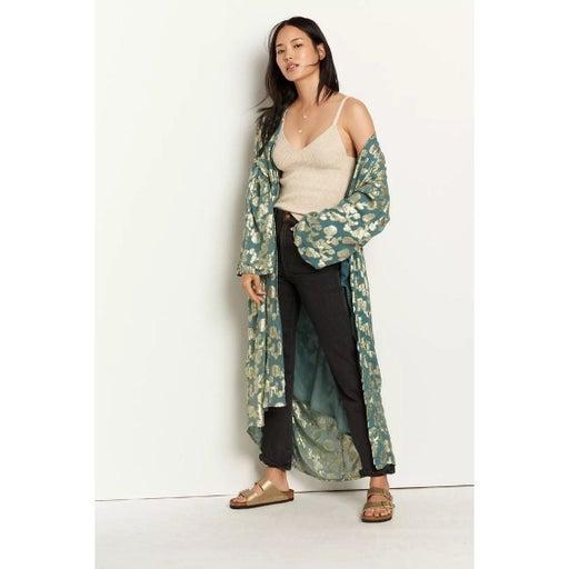 Anthropologie Raga Jessamine Floral Shine Kimono Sage Green New OS Free Size