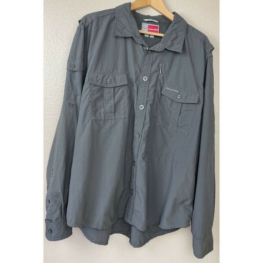 CRAGHOPPERS Insect Shield Button Up Long Sleeve Hiking Shirt Vented Men's 2XL