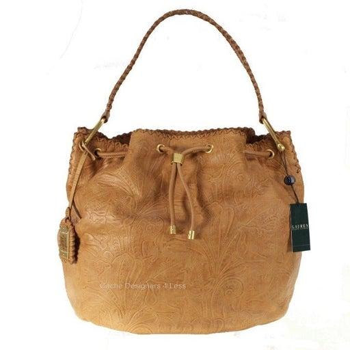 Ralph Lauren Paulden Drawstring Hobo CXB- Cuoio Handbags