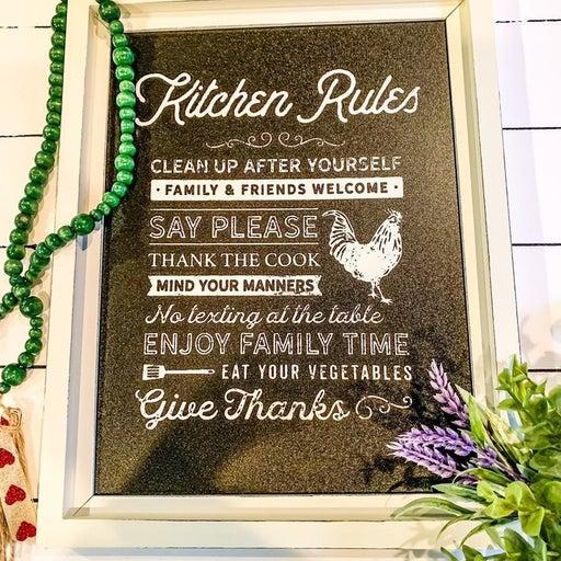 Farmhouse Kitchen Rules Chicken Chalkboard Sign wall hanging sign art handmade c