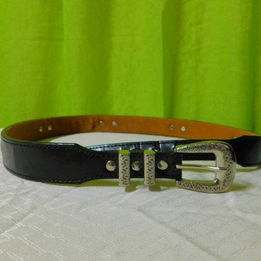 Leather Western Belt Silver embossed buckle & tip