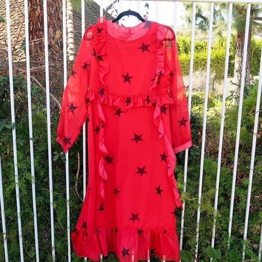 Sister Jane Red Chiffon Dress w Stars