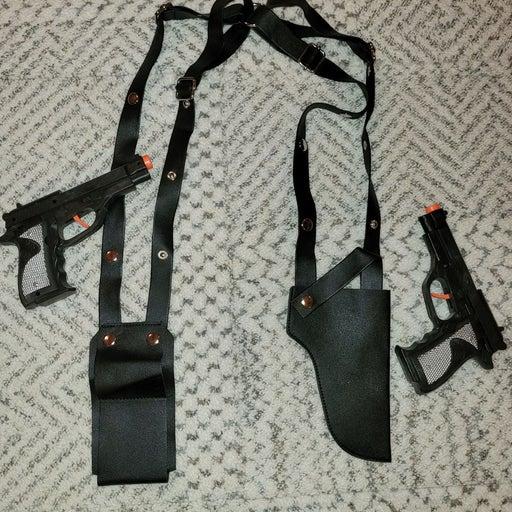 Faux leather shoulder gun holster