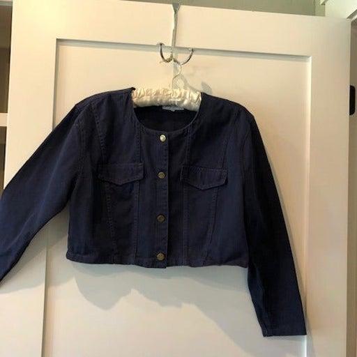 Blue denim crop jacket by Paris Blues