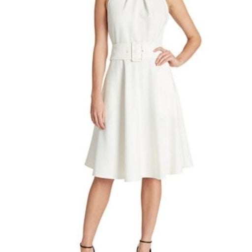 Tahari ASL White Belted Fit & Flare Dress Womens Plus size 16 Sleeveless