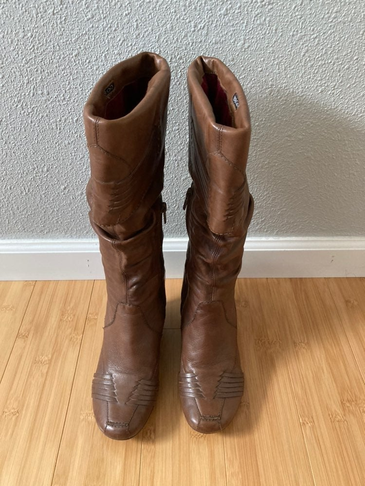 Womens Bronx brown leather wedge boots