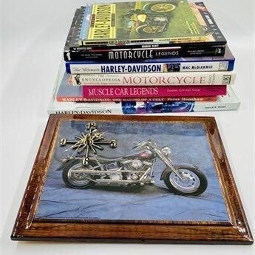 Harley Davidson Coffee Table Books and Clock
